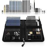 Castle Art Supplies juego de 40 lápices para bocetar y dibujar presentado en un estuche con cremallera. ¡Gama de lápices para