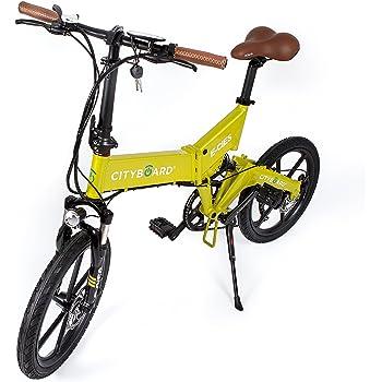 Cityboard Montaña Plegable E-Cies Bicicleta Eléctrica, Unisex Adulto, Amarillo, 20 Pulgadas