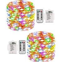 Lichterkette Aussen, 2er 10M 100 LED 8 Modi Kupferdraht Lichterkette Akku , Wasserdichte IP68 mit Fernbedienung und…