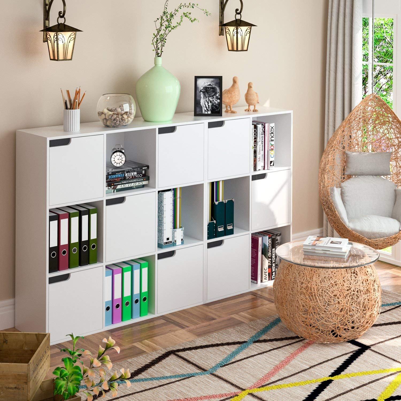 Cubi Di Legno Scaffale.Homfa Libreria Armadio Con 6 Cubi Mensola In Legno Scaffale Cubo Porta Libri Cd Pianti Espositore 90 60 29cm Bianco