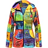 Womens Colorful Slashed Patchwork Hippie Hoodie