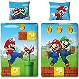 NINTENDO Super Mario kinderbeddengoed omkeerbaar motief - kussensloop 80x80 + dekbedovertrek 135x200 cm - 100% katoen - NIEUW