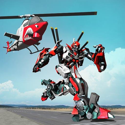 Juego de transformación de robots de helicóptero volador para niños: última guerra del tanque 2018