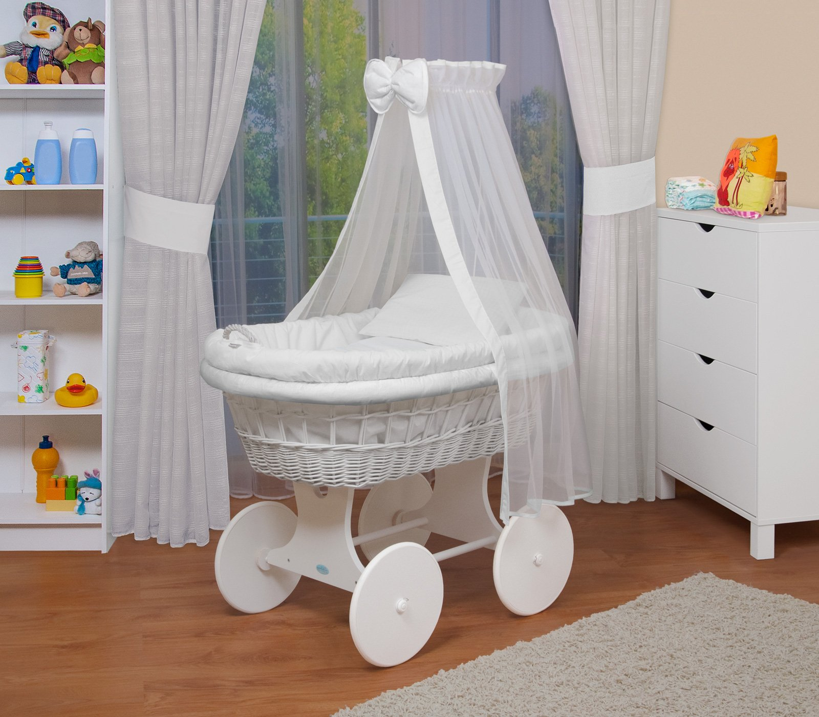 WALDIN Baby wicker cradle, Moses basket,18 models available,white painted stand/wheels,textile colour white  For more models and colours click on WALDIN under the title Bassinet complete with bedding and stand Certified to safety standard EN 1130-1/2 1