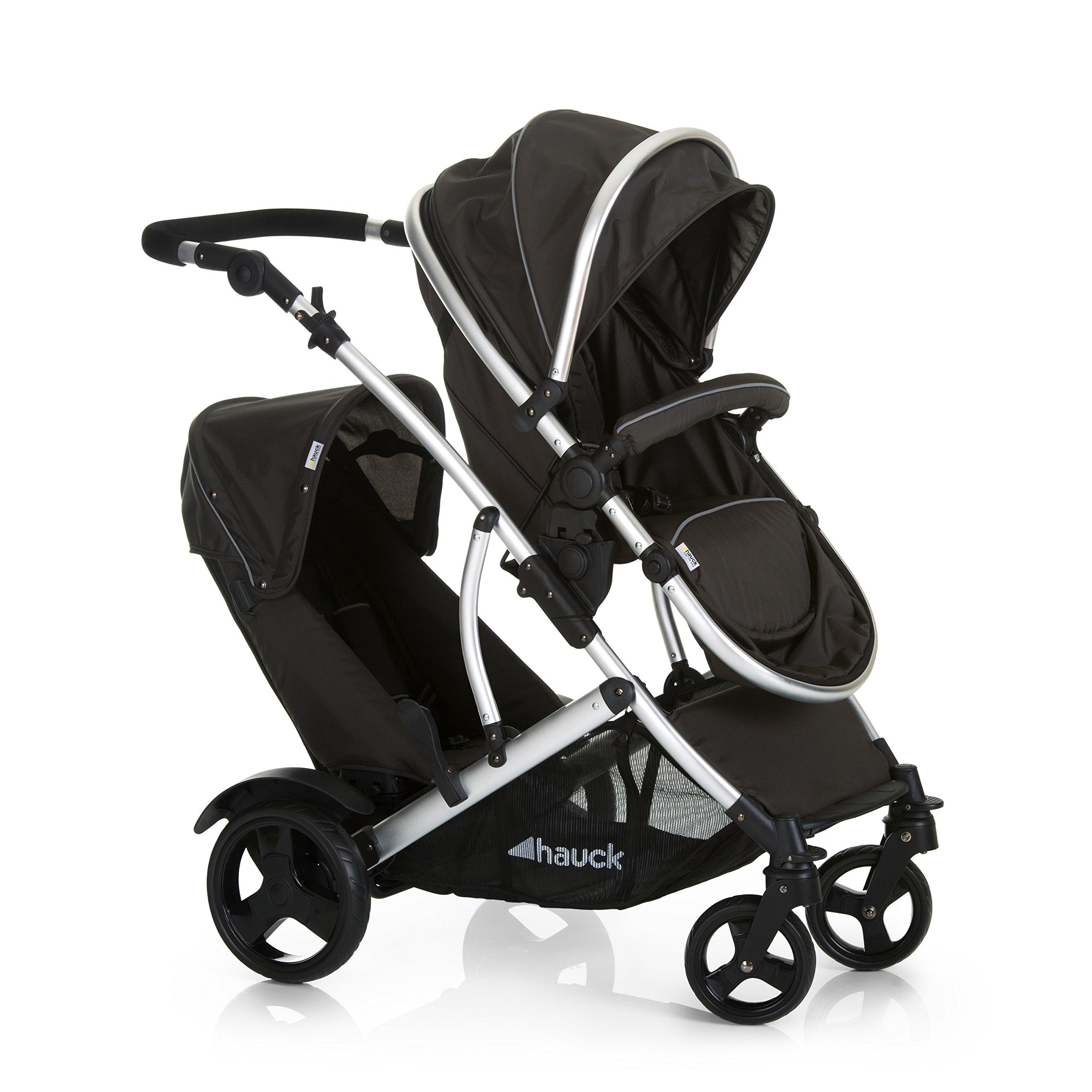 Hauck Duett 2 Geschwisterwagen bis 36 kg, Zwillingsbuggy mit Babywanne ab Geburt umbaubar zur drehbaren Sitzeinheit…