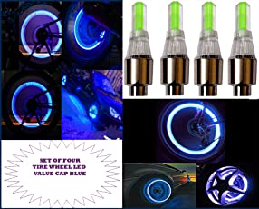 Premium Quality Car and Motorcycle Blue LED Wheel Valve Cap Light with Extra Batteries (Set of 4)