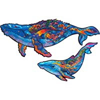 Unidragon Wooden Puzzle Jigsaw, Best Gift for Adults and Kids, Unique Shape Jigsaw Pieces Milky Whales, 9.8 x 5.9 inches…
