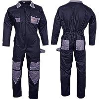 NORMAN Black Men's Coveralls Boiler Suit Overalls for Warehouse Mechanics Work Wears