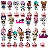 SHANFAA 20 Piezas Doble Cara Decoración de la Tarta de cumpleaños de LOL, Cupcake Topper,Decoración Linda de la Torta de la F