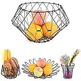 Fruit Bowls, Stainless Steel Fruit Basket Geometric Storage Bowl Decorative Fruit Bowl for Vegetable Egg Bread Kitchen- Large