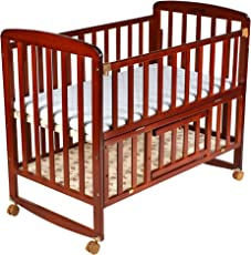 Luvlap C-50M Baby Multipurpose Wooden Cot with Mattress - Large (Cherry Red)