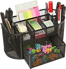 FastUnbox Mesh Desk Organizer Pencil Holder 8 Compartments with Drawer Desk Tidy Pen Stationary Holder(Only Black Color)