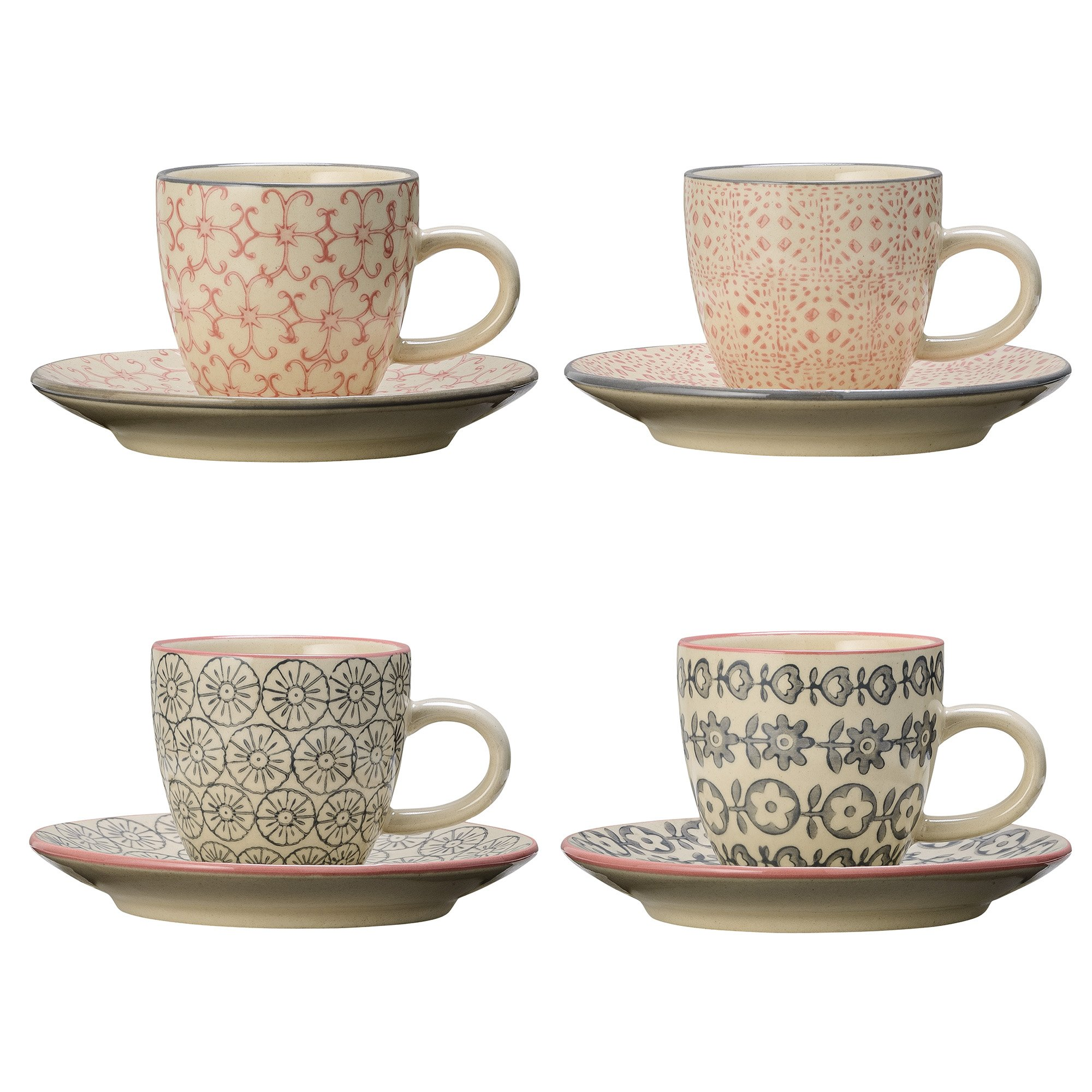 Bloomingville Espressotasse mit Untertasse Cecile, rosa grau, Keramik, 4er Set