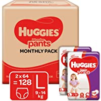 Huggies Wonder Pants, Monthly Box Pack Diapers, Large Size (9 - 14 kg), 128 Count