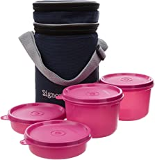 Signoraware Executive Lunch Box with Bag, Pink