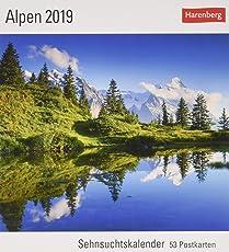 Alpen - Kalender 2019: Sehnsuchtskalender, 53 Postkarten