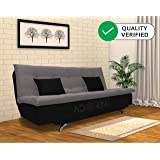 adorn india aspen three seater sofa cum bed (medium grey & black)