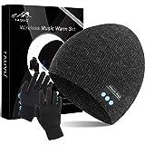 TAGVO Bluetooth V5.0 Beanie con Guanti Touchscreen Set, Inverno Caldo Lavorato a Maglia Senza Fili Bluetooth Cuffia Musica Ca