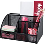 Mesh Desk Organizer Multifunctional Desktop Organizer Office Supplies Holder with 6 Compartments and 1 Drawer for Home Office