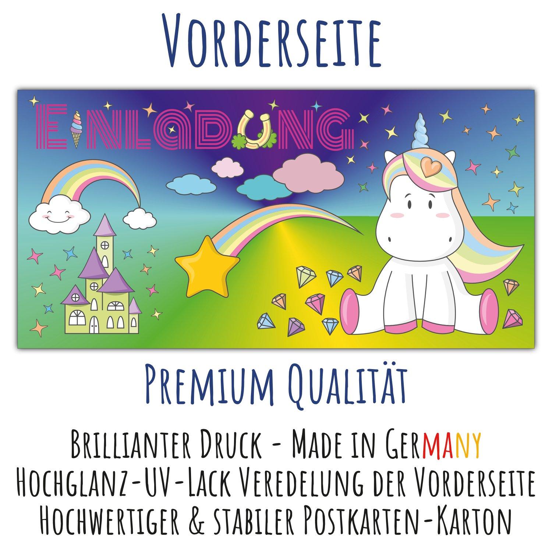 12 Einhorn Einladungskarten Im Set U2013 Süße Karte Mit Niedlichem Unicorn,  Schloss, Diamanten,
