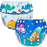Luxja Riutilizzabile Pannolini da Nuoto (Confezione da 2), Impermeabile Pannolino Piscina, Costume Pannolino Neonato (0-3 Ann