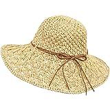 Wilxaw Sonnenhüte Damen Faltbarer, Strohhut Damen Sommer mit Sonnenschutz Breite Krempe 56-58cm, Strandhut UV Schutz für Reis