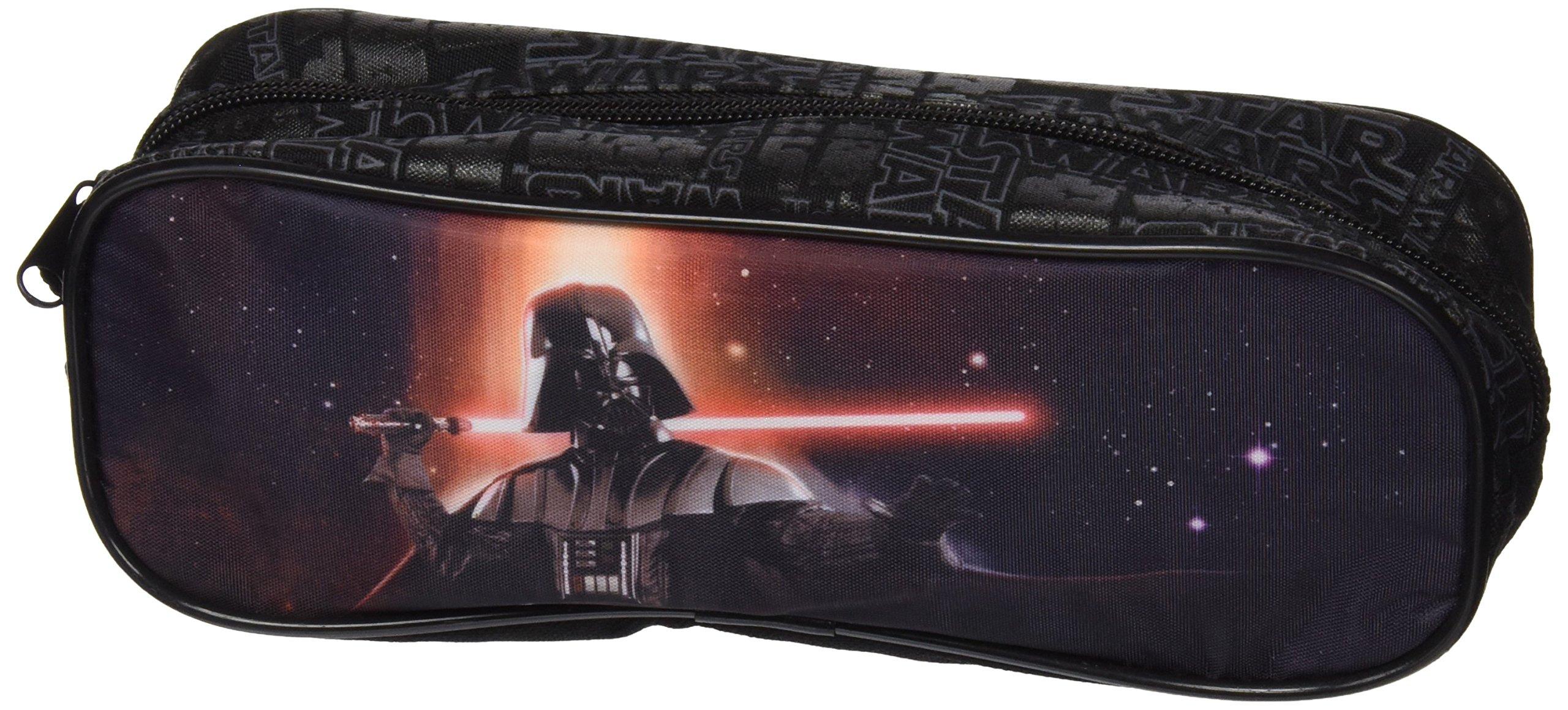 PERLETTI 13800 Estuche Escolar Niño Star Wars – Bolsa para Lapices Estampado Darth Vader – Neceser Portatodo Escuela Viaje La Guerra de las Galaxias – Negro – 8x23x6 cm