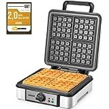 Waffles Piastra Belga 1200W Aicook, Piastra Per Waffle 4 Fette, Macchina Per Waffle con Controllo della Temperatura…