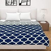 Divine Casa Microfibre 120 GSM Comforter/Blanket/Quilt/Duvet Lightweight, All Weather BS6 Double Comforter, Abstract- Navy Blue and Grey