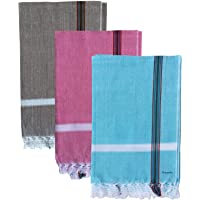 Fancyadda Handloom Cotton Bath Towels (Pack of 3, Large Size, Light Weight, 30x60 inches, Multi-Colored)