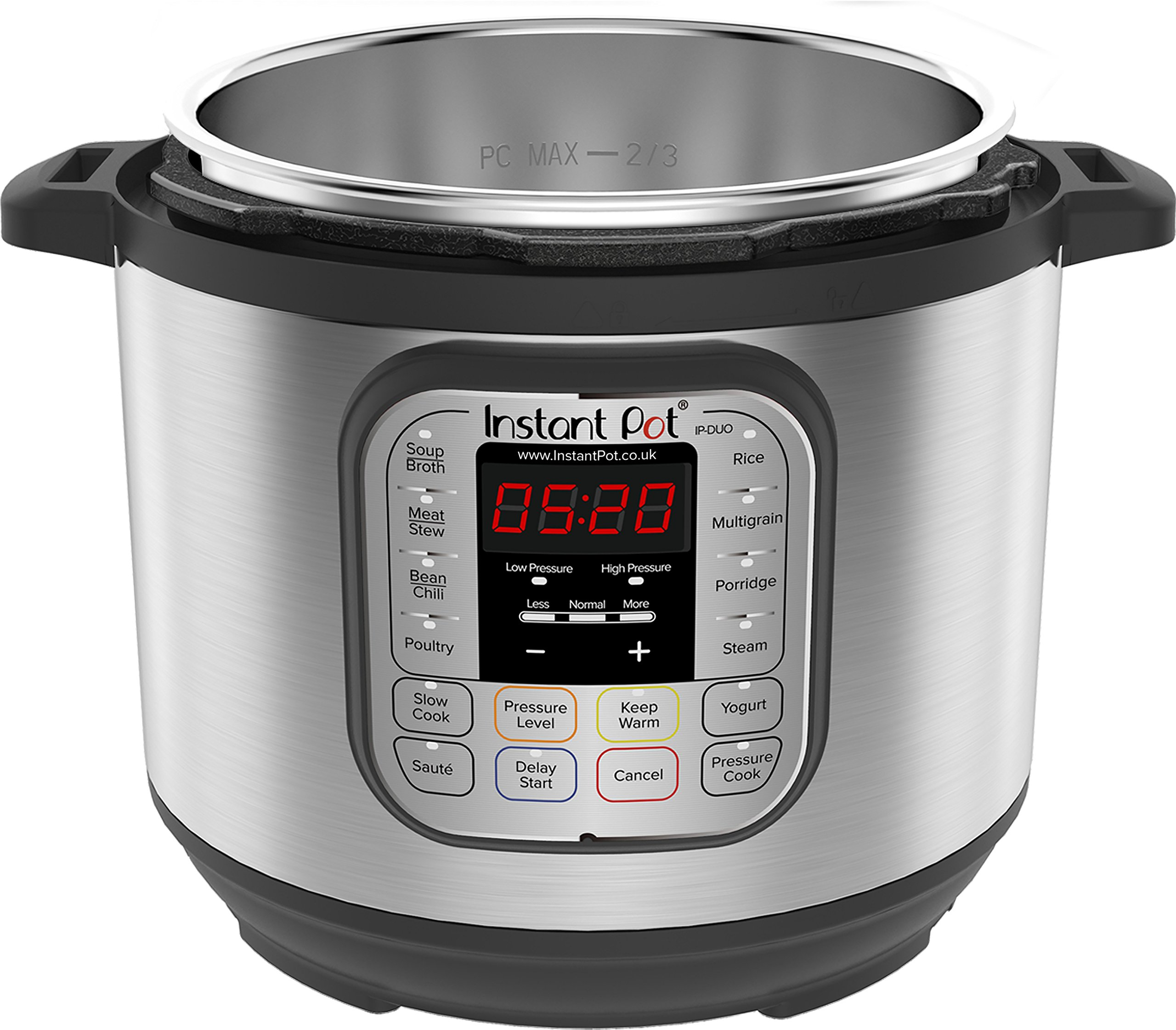 811LY4AHWnL - Instant Pot Duo 7-in-1 Electric Pressure Cooker, 6 Qt, 5.7 Litre, 1000 W, Brushed Stainless Steel/Black