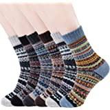 meetdas 6 paia di calzini di lana invernali, Calzini invernali caldi termici da donna Calzini da uomo spessi Calzini di coton
