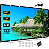 Projector Screen 120 inch, 4K Movie Projection Screen 16:9 HD Foldable & Portable Outdoor Projection Indoor for Home, Party,
