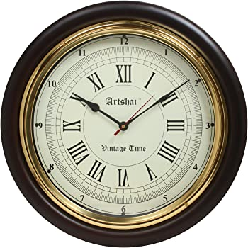 Artshai Vintage time 16 inch Wall Clock, Antique Look Wall Clock for Home and Office, Roman Numbers