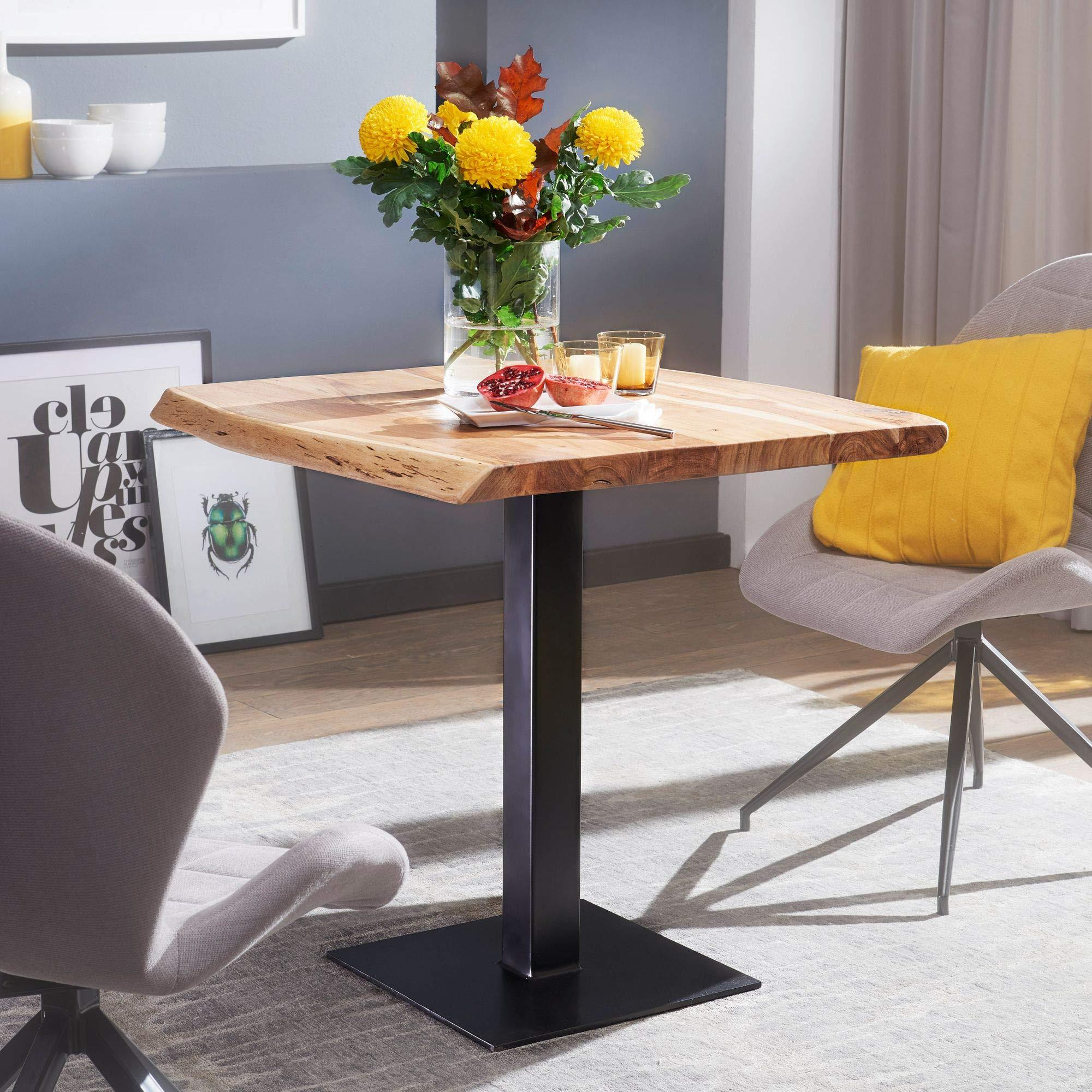 FineBuy Esstisch Baumkante 80 x 75 x 75 cm Akazie Massivholz Esszimmertisch   Kleiner Holztisch Esszimmer   Designer Küchentisch Quadratisch