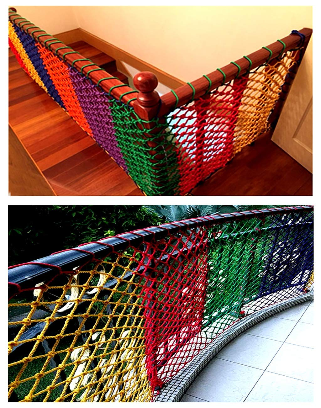 Wathet Child safety net protective net balcony stairs anti-fall net kindergarten color decorative net fence network Width 1/4M Length 1M /9M Hand braided traditional structure (Size : 4 * 5)  [Protect children's safety]: Many children fall from the building, let us understand that the safety of children can not be ignored. [Polyester knotless woven mesh]: The mesh surface has large pulling force, and the double needle has no knot woven mesh hole, so that the mesh has stronger impact resistance. [wire diameter 6MM, mesh spacing 6CM]: Escort for baby safety.(Others available in our shop) 50