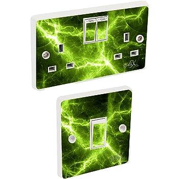 Skin cover sosw23 Green electric Light Switch /& Double Socket Sticker Vinyl