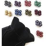 Gentleman: 10 pregiato multicolore paia di seta nodo - silk knot cufflinks