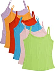 BODYCARE Pure Cotton Plain Multi-Coloured Slip for Girls & Kids (80C-Packof6)