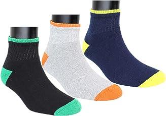 Neska Moda Unisex 3 Pair Multicolor Terry Cotton Ankle Length Socks-S1071