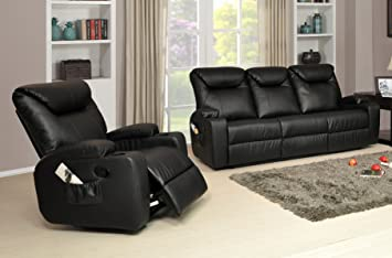 Lovely Lovesofas Luxury Cinema Hollywood Electric Recliner Sofa 3 2 1 Bonded  Leather Suite Variations   Black