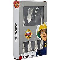 Feuerwehrmann Sam 4tlg. Edelstahlbesteckset im Geschenkkarton: 4-teilig, Edelstahl, Rostfrei, mit Prägung