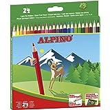 Lapices de Colores Alpino - Estuche de lápices de madera 24 unidades - Lapices para Niños y Adultos - Forma Hexagonal, Bandej