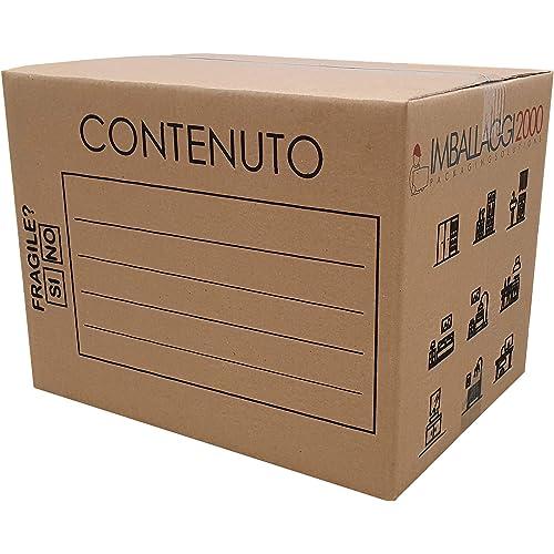 IMBALLAGGI 2000-5 Scatoloni da Trasloco 40x30x30 cm - Scatola di Cartone - Imballaggi per Spedizione e Trasloco Resistenza RINFORZATA - 5 Pezzi