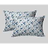 LINENWALAS Cotton 300 TC Pillow Cover, 17 x 27 Inch, Indigo Blue, 2 Pieces