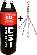 CSI Heavy Punching Bag 36 Inches- Filled Bag (Red/Black) With Chain