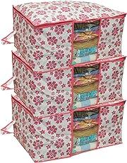 Kuber Industries 3 Piece Non Woven Under Bed Storage Bag Set, Pink