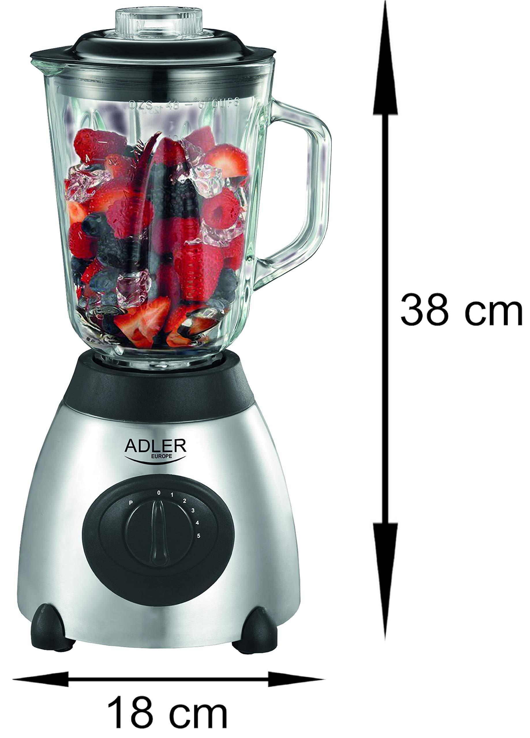 Standmixer-800-Watt-Glas-Edelstahl-15-Liter-6-Fach-Metallmesser-Universal-Power-Mixer-Smoothie-Maker-Mixer-Zerkleinerer-Eiwei-Shaker-Ice-Crusher