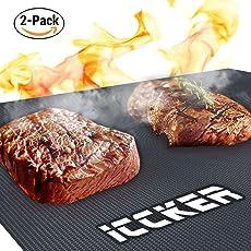 ICCKER Grillmatte BBQ Grillmatten Wiederverwendbar Anti Haft 600 Grad/0.39mm/40 * 33cm/PFOA-Frei Groß Teflon Backmatte Zum Grillen/Backen/Elektro Grill/Backofen