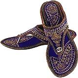 UNTHREAD Handmade Ethnic Womens Indian Traditional Khussa Shoes Phulkari Jutti Mojari Slip-ons Blue
